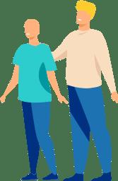 Una persona camina al costat d'una altra